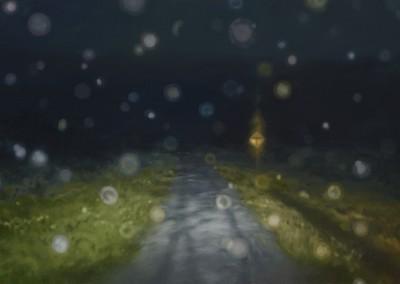 Étude pour Nuit, neige (Petite route), 36 x 53,7 cm, 2016, VENDU