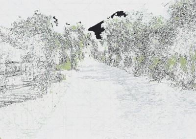 Agung; cartographie d'une traversée I, 50 x 91 cm, 2011