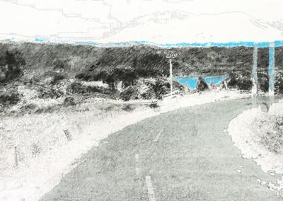 Le chemin de la caldéra (segment horizon), 50 x 91 cm, 2011
