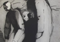 Deux personnages dos-à-dos, 120 x 80 cm, 1988