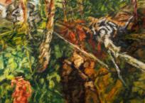 Le talus, arbre déraciné, 127 x 127 cm, 2014
