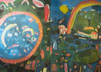 Le choucas et le bassin / L'arc en ciel et la matricaire, 175 x 165 cm, 2018