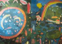 Le choucas et le bassin / L'arc en ciel et la matricaire, 175 x 330 cm, 2018