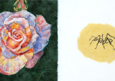 Bestiaire-Rose et fourmi, 29 x 50 cm, 2012