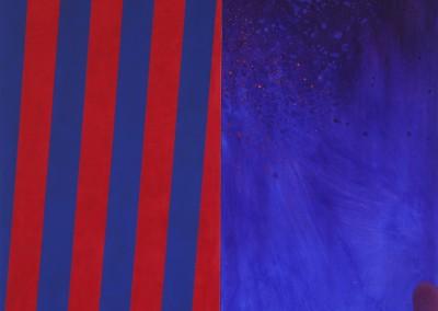 Strates bleu-rouge, 170 x 170 cm, 2013