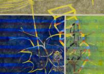 Escalera y tendido eléctrico con insecto, 153 × 165 cm, 2013