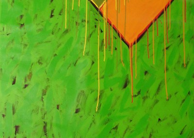 Triangulation (Vert-Orange-Vert), 211.5 x 152 cm, 1982, SOLD