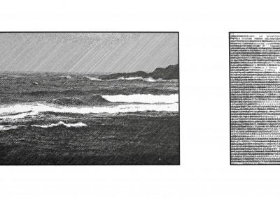 Suivant l'idée d'un océan ; fabulation III, 43 x 76 cm, 2016