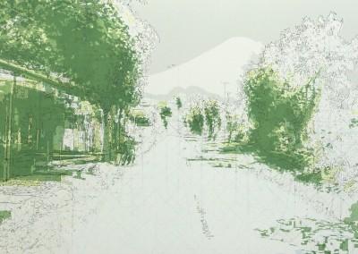 Agung; cartographie d'une traversée II, 50 x 91 cm, 2011, SOLD
