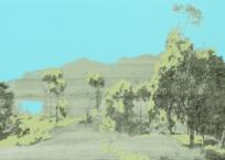 Le chemin de la caldéra (segment ciel), 50 x 91 cm, 2011, SOLD