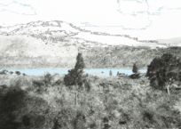Le chemin de la caldéra (segment lac), 50 x 91 cm, 2011, SOLD