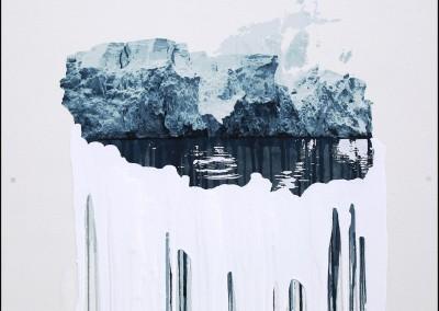 EVELINE BOULVA, Transgression; le mouvement des glaces, aquarelle et acrylique sur papier marouflé sur support de bois, 51 x 51 cm, 2018, VENDU