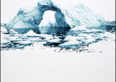 EVELINE BOULVA, Dis-location; glacier 1, aquarelle sur papier marouflé sur support de bois, 51 x 51 cm, 2018, VENDU