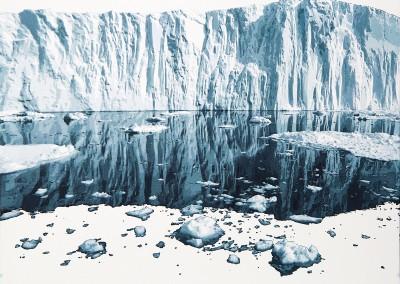 EVELINE BOULVA, Dis-location; glacier 2, aquarelle sur papier marouflé sur support de bois, 41,5 x 51 cm, 2018