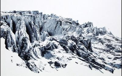 EVELINE BOULVA, Dis-location; glacier 3, aquarelle sur papier marouflé sur support de bois, 51 x 61 cm, 2018
