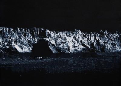 EVELINE BOULVA, Dis-location; glacier 4, aquarelle sur papier marouflé sur support de bois, 30,5 x 40,5 cm, 2018